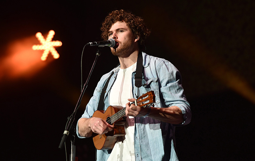 Vance Joy performs at the 25th annual KROQ Almost Acoustic Christmas at The Forum on Sunday, Dec. 14, 2014, in Inglewood, Calif. (John Shearer/Invision/AP)