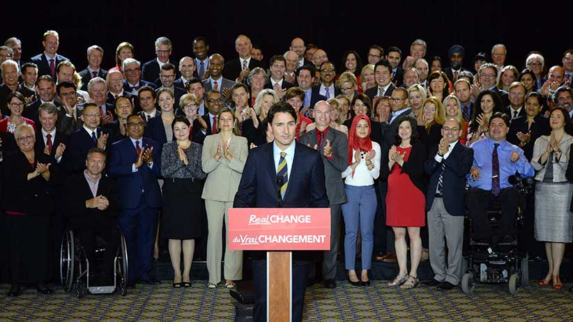 CORRECTS TO GATINEAU, QUE.Backed by Liberal candidates, Liberal Party Leader Justin Trudeau makes an announcement on fair and open government in Gatineau, Que. on Tuesday, June 16, 2015. Sean Kilpatrick/Canadian Press