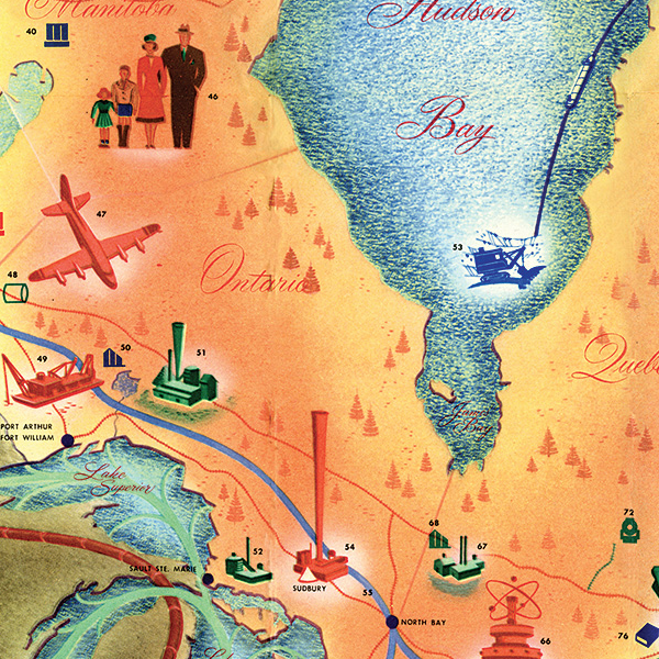 This beautiful map shows what Canada's future looked like in 1955
