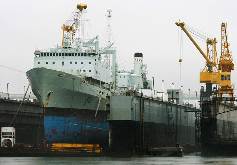 The supply ship HMCS Preserver sits in a dry dock at the Halifax Shipyard in Halifax, Nova Scotia. (Paul Darrow/Reuters)