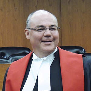 Justice Russell Brown is congratulated upon his appointment to the Supreme Court of Canada. (University of Alberta)