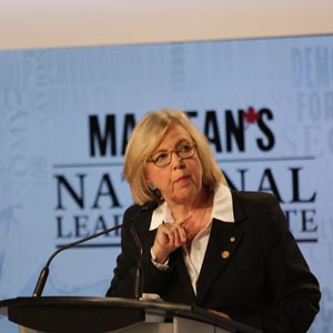 ELIZABETH MAY SPEAKS DURING THE MACLEAN'S LEADERS DEBATE, TORONTO, ON, AUGUST 6TH, 2015. (DILLAN COOLS/MACLEAN'S)