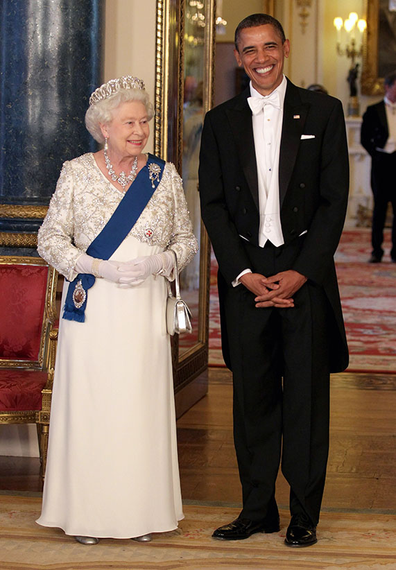 Queen Elizabeth II and US President Barack Obama arrive for a State Banquet at Buckingham Palace on May 24, 2011 in London, England. (Anwar Hussein/Getty Images)
