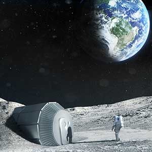 Lunar outpost near the moon's south pole