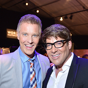 TORONTO, ON - MARCH 18:  CBC TV personality Steven Sabados and Chris Hyndman attend World MasterCard Fashion Week Fall 2013 Collection at David Pecaut Square on March 18, 2013 in Toronto, Canada. George Pimentel/IMG/Getty Images