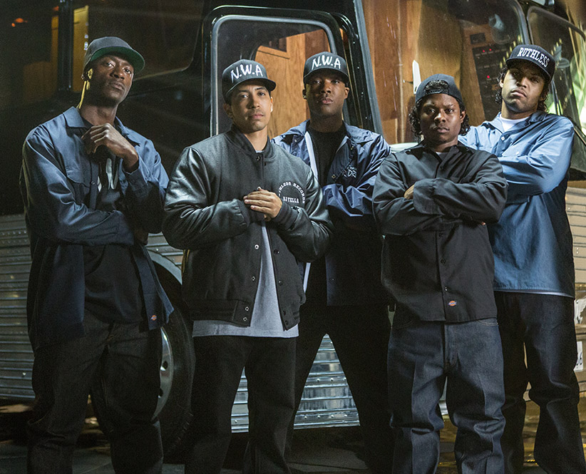 """(L to R) MC Ren (ALDIS HODGE), DJ Yella (NEIL BROWN, JR.), Dr. Dre (COREY HAWKINS), Eazy-E (JASON MITCHELL) and Ice Cube (O'SHEA JACKSON, JR.) in """"Straight Outta Compton"""".  Taking us back to where it all began, the film tells the true story of how these cultural rebels—armed only with their lyrics, swagger, bravado and raw talent—stood up to the authorities that meant to keep them down and formed the world's most dangerous group, N.W.A.  (Jaimie Trueblood)"""