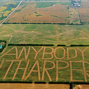 "An aerial view of a Canadian farm in Brantford with an ""Anybody but Harper!!"" sign carved into the field. (Geoff Grenville)"