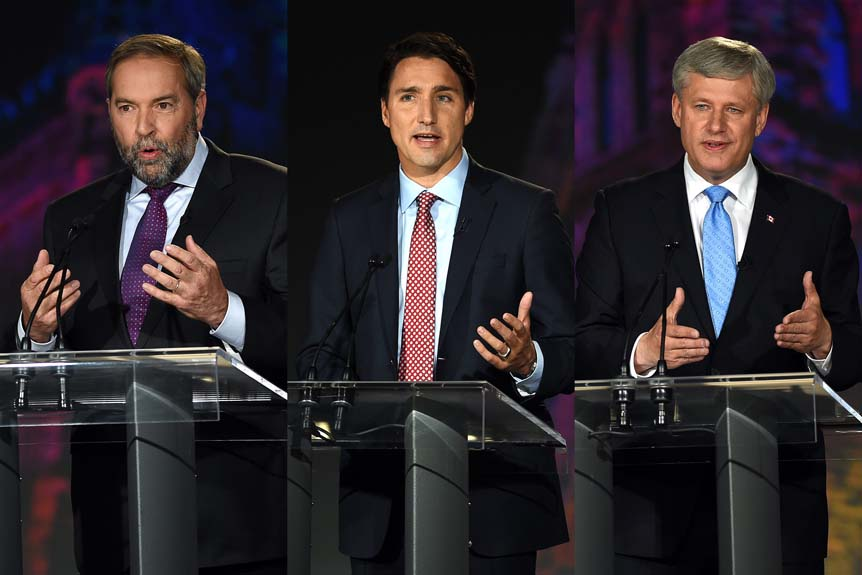 From left to right, NDP Leader Tom Muclair, Liberal Leader Justin Trudeau, and Conservative Leader Stephen Harper are seen at various points during the Globe and Mail leaders' debate, in this photo illustration, on Thursday, September 17, 2015. (Sean Kilpatrick/CP)