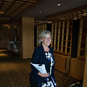 Green Party Leader Elizabeth May arrives at a campaign event where she released the party's platform in Vancouver, B.C., on Wednesday September 9, 2015. A federal election will be held October 19. (DARRYL DYCK/CP)