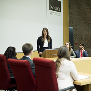 MACLEANS-MOOTING-09.14.15-TORONTO, ON: (left to right) Kelsey Bishop, Paulina Bogdanova, and Raphael Jacob, Jurisdoctor law students, participate in a simulated court procedure at the York University Osgood Hall Law School mooting program. (Photograph by Cole Garside)