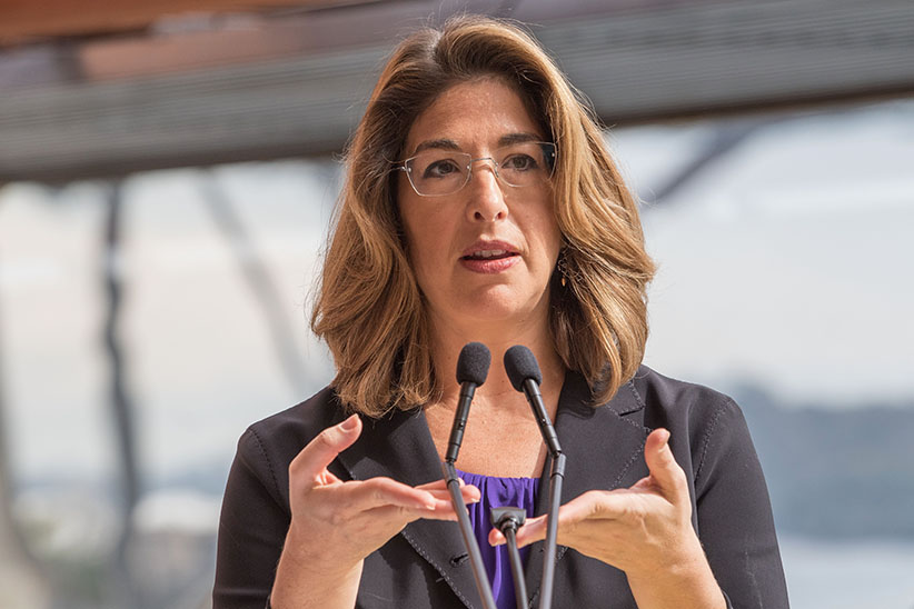 Canadian author Naomi Klein talks to the media at a press conference ahead of the seventh annual Festival of Dangerous Ideas at Sydney Opera House on September 3, 2015 in Sydney, Australia. (Cole Bennetts/Getty Images)