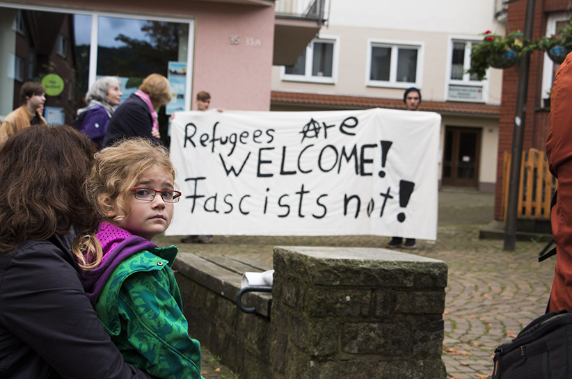 Locals from Porta Westfalica attend an anti-fascist demonstration in Porta Westfalica's administrative centre. (Photograph by Adnan R. Khan)