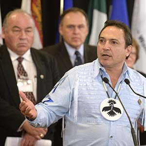 AFN National Chief Perry Bellegarde speaks at a news conference in Ottawa on Friday, Feb. 27, 2015 following the National Roundtable on Missing and Murdered Indigenous Women and Girls. (Adrian Wyld/CP)