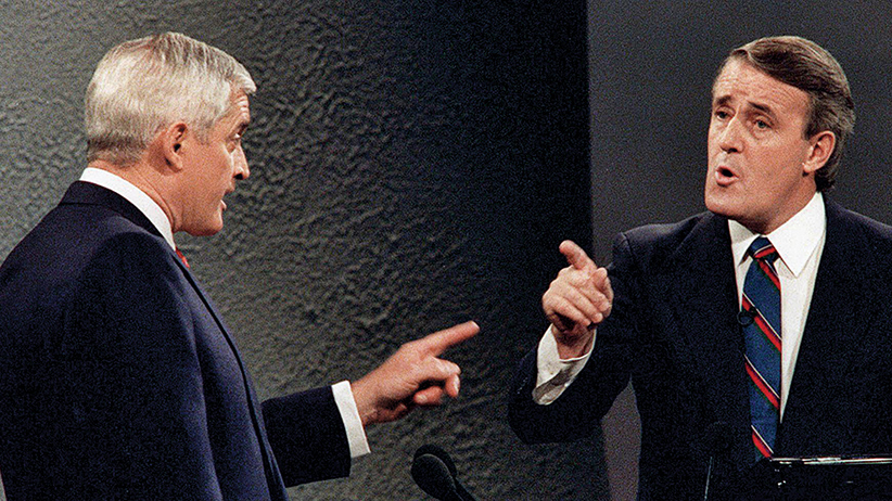 FILE - Liberal leader John Turner and Conservative leader Brian Mulroney point fingers at each other during a debate in the 1988 federal election campaign. It's an exchange that many political observers point to without hesitation as the last great debate moment Canadians have seen. Fred Chartrand/CP
