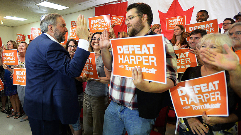 NDP  leader Thomas Mulcair makes a campaign stop in Peterborough , Ontario on Wednesday, September 9, 2015.  (Sean Kilpatrick/CP)
