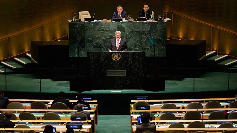 Stephen Harper, Prime Minister of Canada, addresses the 69th United Nations General Assembly at the U.N. headquarters in New York September 25, 2014. (Lucas Jackson/Reuters)