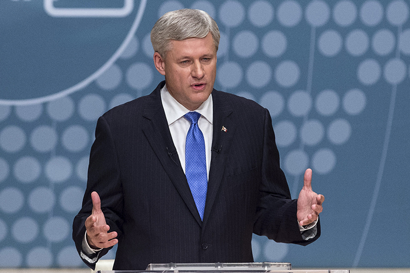 Conservative Leader Stephen Harper takes part in the Munk Debate on foreign affairs, in Toronto, on Monday, Sept. 28, 2015. (Nathan Denette/CP)