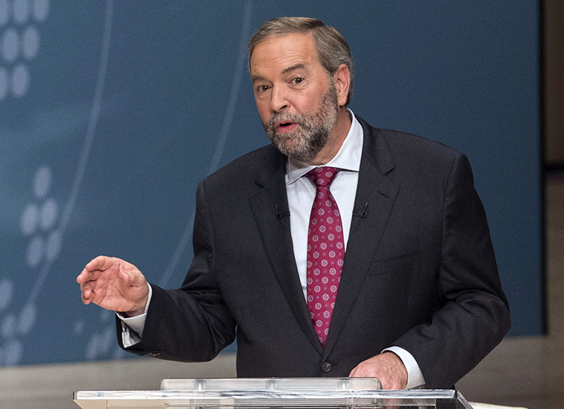 NDP Leader Thomas Mulcair takes part in the Munk Debate on foreign affairs, in Toronto, on Monday, Sept. 28, 2015. (Nathan Denette/CP)