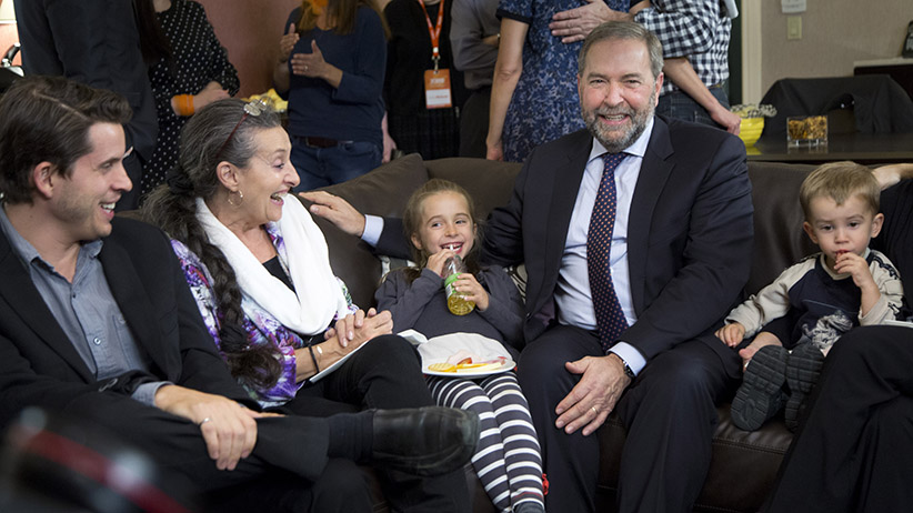MONTREAL, QUE.: OCTOBER 19, 2015 -- Thomas Mulcair watches election coverage with wife Catherine Pinhas and their grandchildren, and family at a hotel in Montreal, Monday October 19, 2015. (Photograph by Vincenzo D'Alto)