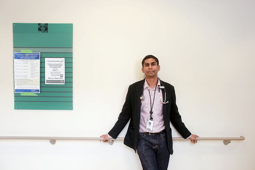 Dr. Navindra Persaud poses at the St. Michael's Family Practice Clinic, April 22, 2015. (Andrew Francis Wallace/Toronto Star/Getty Images)