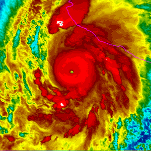 epa04990417 A handout picture released by the US National Oceanic and Atmospheric Administration on 23 October 2015 shows a rainbow colored image of Hurricane Patricia as it approaches the coastline of Mexico from the Eastern Pacific. Hurrican Patricia has reached Category 5, the highest, and was heading towards southwest Mexico.The centre of the storm was around 320 km south-southwest of the city of Manzanillo at 0300 GMT, said the National Weather Centre in the United States. Patricia has windspeeds of up to 260 kilometres per hour.The storm, moving north-northwest at 17 kilometres per hour was predicted to make landfall overnight. The Mexican government declared a state of emergency in 56 localities in coastal areas.  (NOAA/EPA)