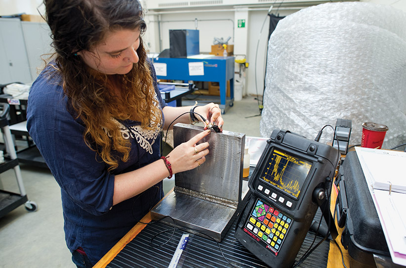 MACLEANS-MOHAWK-09.28.15-HAMILTON, ON: Justine Sutor is a student in the quality engineering technician - non destructive evaluation program at Mohawk college in Hamilton, ON. (Photograph by Cole Garside.)
