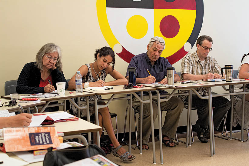 Students take part in the University of Winnipeg's Ojibwe language programming at the Wii Chiiwaakanak Learning Centre in Winnipeg. (Stewart Racette/Wii Chiiwaakanak Learning Centre)
