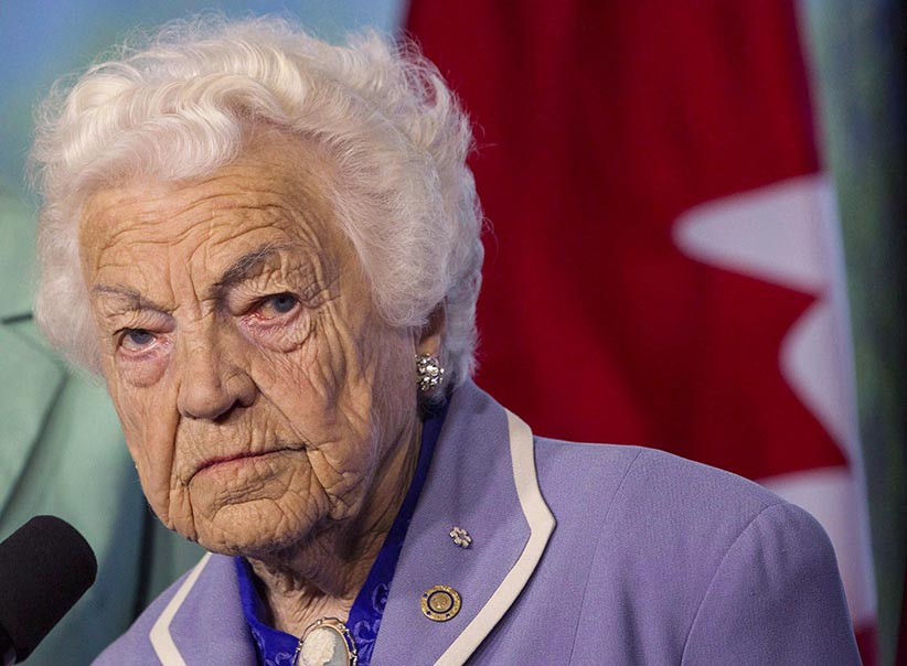 "Hazel McCallion is shown in Mississauga, Ont. in a Wednesday May 14, 2014 file photo. ""Hurricane Hazel"" is still going strong.At the age of 94, McCallion - one of Canada's longest serving mayors - is embarking on a new career. (Chris Young/CP)"