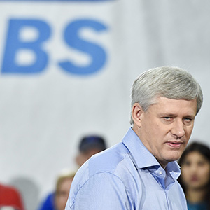 Conservative Leader Stephen Harper speaks during a campaign stop at Global Systems Emissions Inc., in Whitby, Ont., on Tuesday, October 6, 2015. (Nathan Denette/CP)