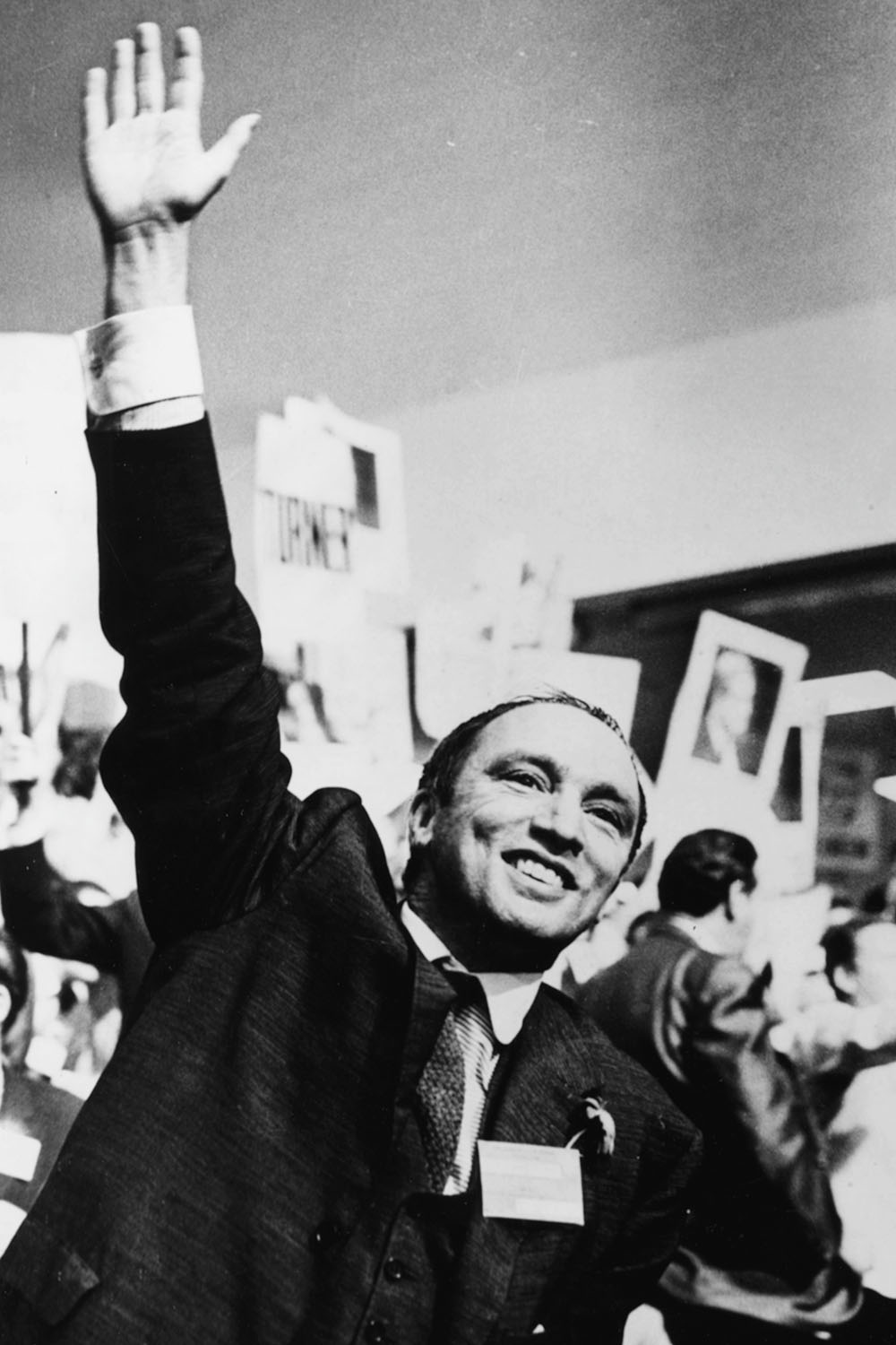 Canadian Prime Minister Pierre Trudeau raising his arm in celebration, circa 1968. (Keystone/Hulton Archive/Getty Images)