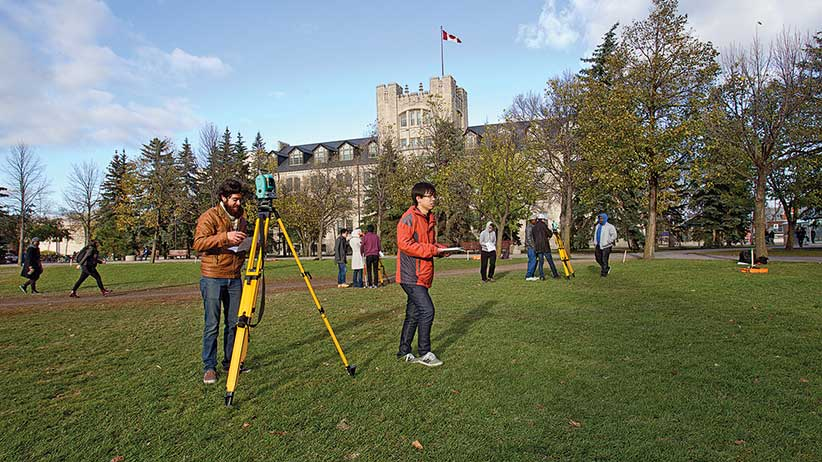 """Civil Engineering students work in the """"quad"""" at the University of Manitoba on Thursday, October 9, 2014 .  Photograph by Marianne Helm"""