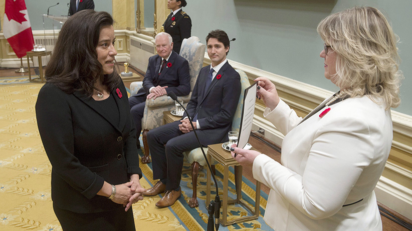 Governor General David Johnston and Prime Minister Justin Trudeau look on as Jody Wilson-Raybould is sworn in as the Minister of Justice and Attoney Gneral of Canada during ceremonies at Rideau Hall, Wednesday Nov.4, 2015 in Ottawa. (Adrian Wyld/CP)