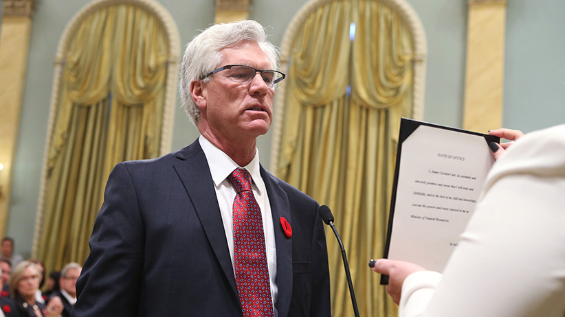 Canada's new Natural Resources Minister Jim Carr is sworn-in during a ceremony at Rideau Hall in Ottawa November 4, 2015. REUTERS/Chris Wattie  - RTX1URRT