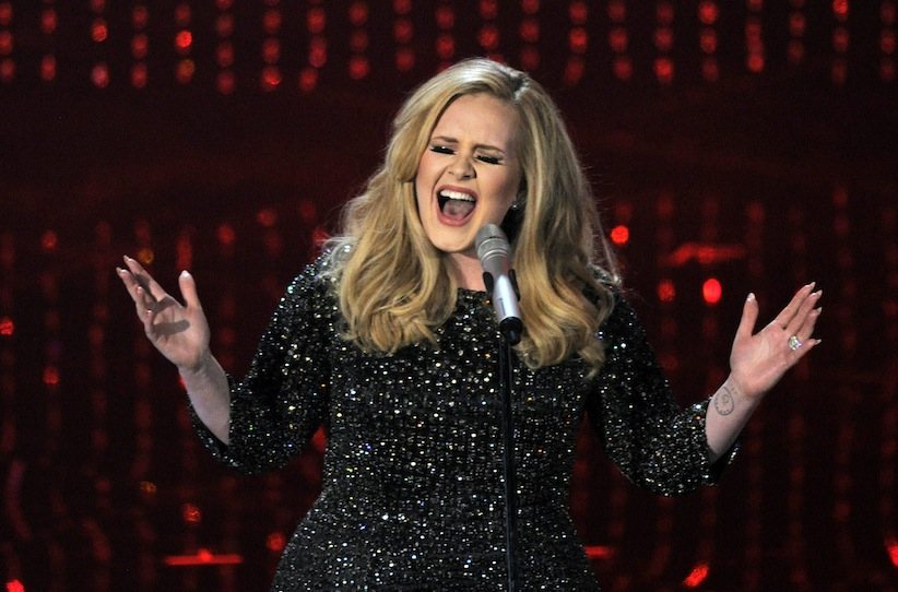Adele performs during the Oscars at the Dolby Theatre in Los Angeles.   (Photo by Chris Pizzello/Invision/AP)