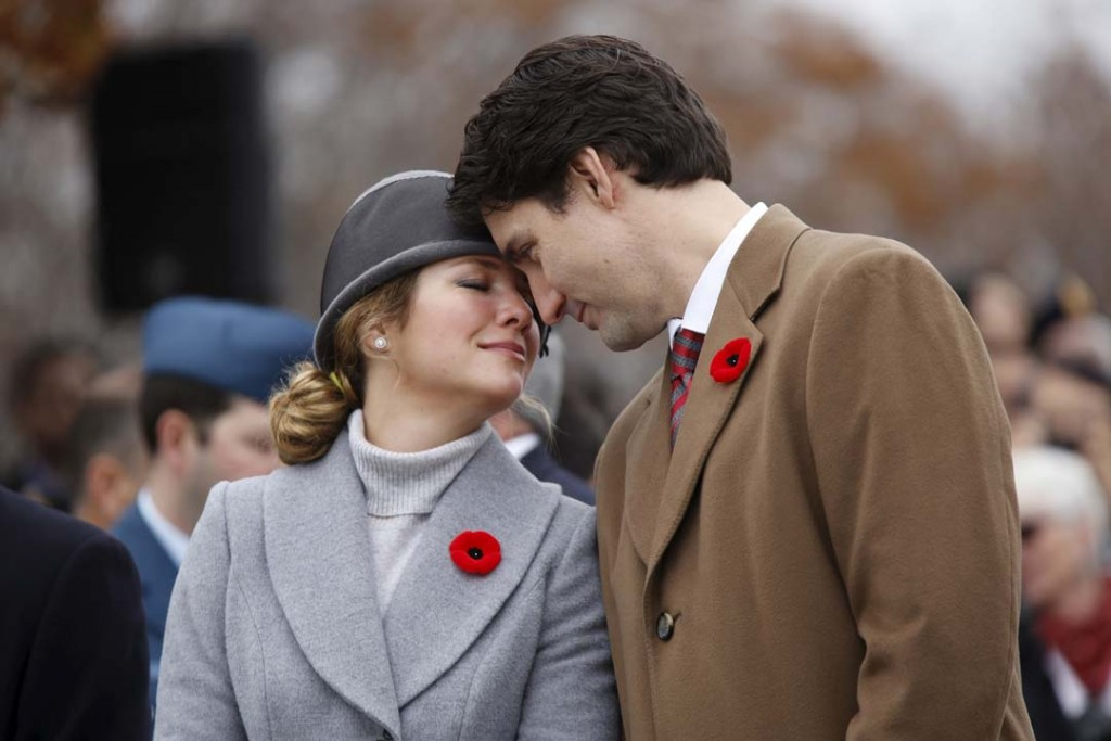 85f4b3fdf335a4 Canada s Prime Minister Justin Trudeau and his wife Sophie share a moment  during Remembrance Day ceremonies