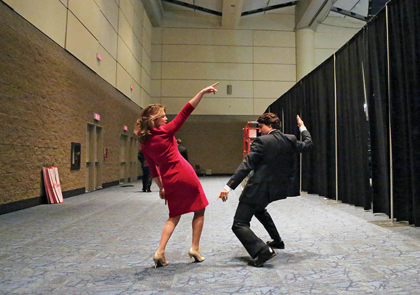 APRIL 6TH 2013 - TORONTO - Sophie Grégoire-Trudeau and Justin Trudeau dance to 'Hello' by Dragonette before Trudeau goes on stage to deliver his speech at the Liberal Showcase.