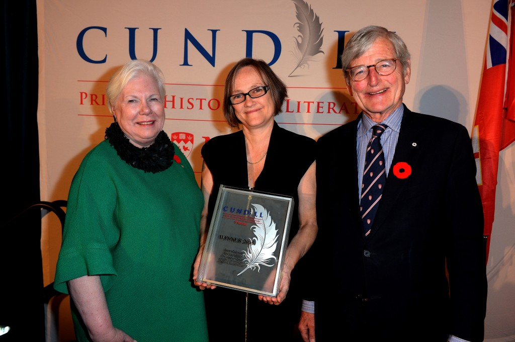 "The Honourable Elizabeth Dowdeswell, Lt. Gov.of Ontario, Susan Pedersen, winner of the 2015 Cundill Prize in Historical Literature at McGill University for ""The Guardians"" and McGill Chancellor Michael A. Meighen. (Photograph by Tom Sandler)"