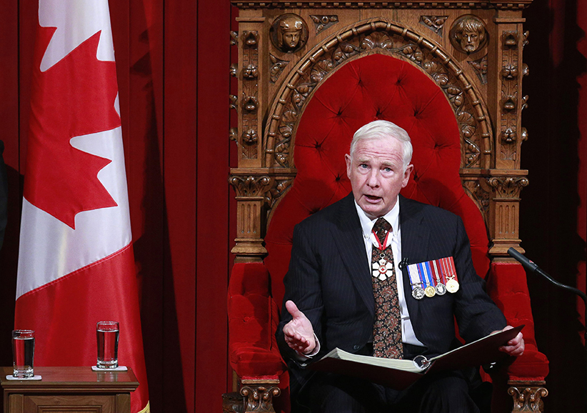 Canada's Governor General David Johnston delivers the Speech from the Throne in the Senate chamber on Parliament Hill in Ottawa October 16, 2013 - (Blair Gable/Reuters)