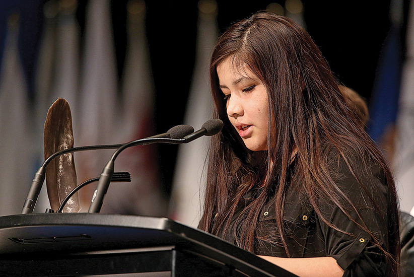 Rinelle Harper speaks at the Assembly of First Nations Election in Winnipeg on Tuesday, December 9, 2014. (Trevor Hagan/CP)