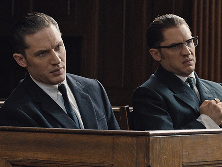 (L to R) Reggie and Ronnie Kray (both played by Tom Hardy ) in Legend.  (Universal Pictures)