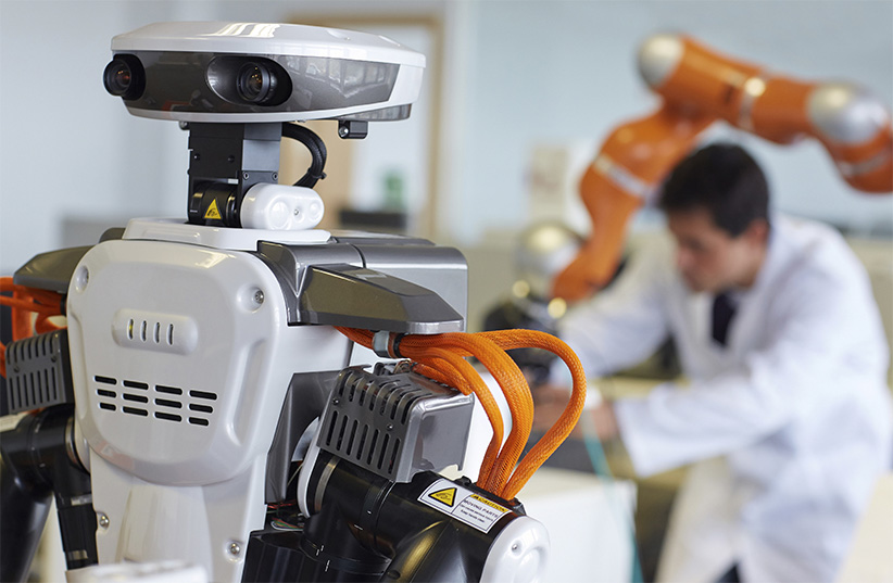 Humanoid robot for automotive assembly tasks in collaboration with people and LWR robot, using haptic teleoperation with force feedback Safety in human-robot cooperation Industry, Tecnalia Research, San Sebastian, Basque Country, Spain. (Javier Larrea/Getty Images)
