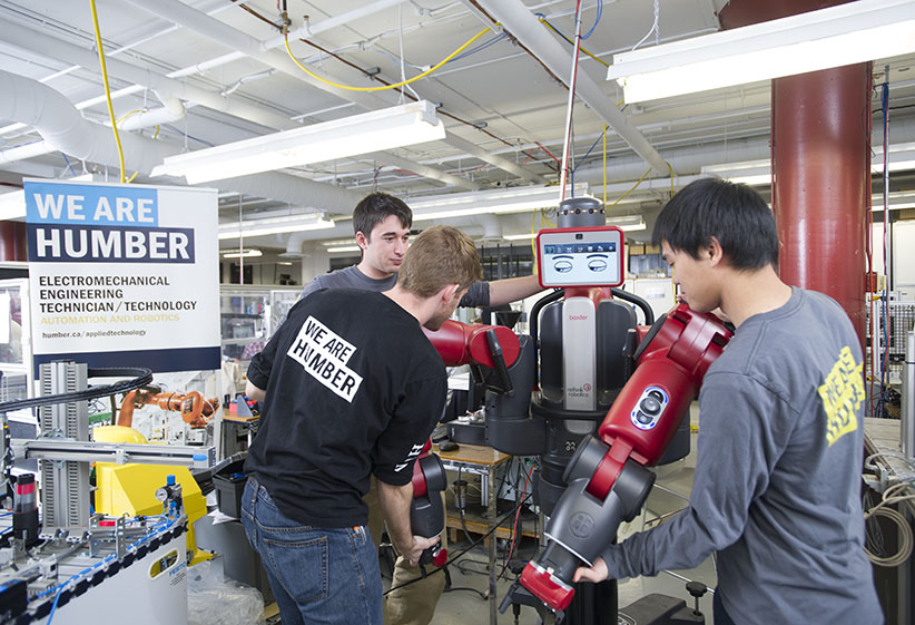MACLEANS-HUMBER ROBOTICS-10.30.15-TORONTO, ON: Electromechanical Engineering Technician/Technology Thesis students work as groups in the automation and robotics labs at the Humber College north campus in Toronto, ON. (Photograph by Cole Garside)