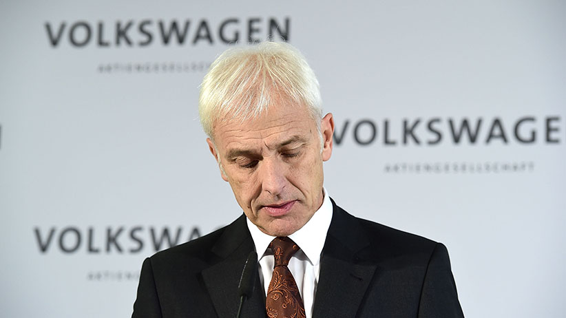 Matthias Mueller, CEO of Volkswagen Group, speaks to the media following a meeting of high-ranking Volkswagen managers on November 20, 2015 in Wolfsburg, Germany. Volkswagen officials are scheduled to meet with officials in the USA to present details on how the company will fix 482,000 Volkswagen vehicles sold in the U.S. affected by the emissions cheating software to comply with U.S. emissions standards. (Alexander Koerner/Getty Images)