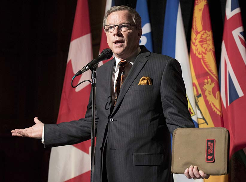 Saskatchewan Premier Brad Wall speaks to reporters before a meeting with premiers hosted by the Council of The Federation in Ottawa on Monday, Nov. 23, 2015. (Justin Tang/CP)