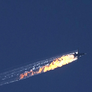 epaselect epa05039461 A still image made available on 24 November 2015 from video footage shown by the HaberTurk TV Channel shows a burning trail as a plane comes down after being shot down near the Turkish-Syrian border, over north Syria, 24 November 2015. A Russian fighter jet was shot down 24 November over the Turkish-Syrian border, the Defence Ministry in Moscow said, according to Interfax news agency. The Sukhoi Su-24 was reportedly downed by Turkish forces, Turkish state news agency Anadolu reported, citing sources in the presidency. The report said that the jet violated Turkish airspace and ignored warnings. It crashed in the north-western Syrian town of Bayirbucak, Turkish security sources were quoted as saying.  EPA/HABERTURK TV CHANNEL MANDATORY CREDIT: HABERTURK TV CHANNEL