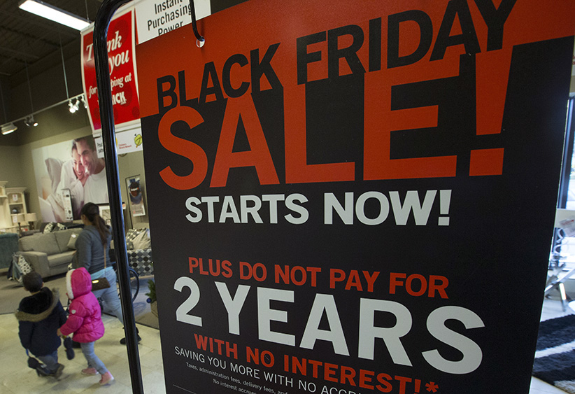 TORONTO, ON - NOVEMBER 22: Black Friday deals can be had prior to the actual Black Friday, which is the day after US Thanksgiving. One of the few places in the area already employing Black Friday pricing is The Brick.  (Rick Madonik/Toronto Star/Getty Images)