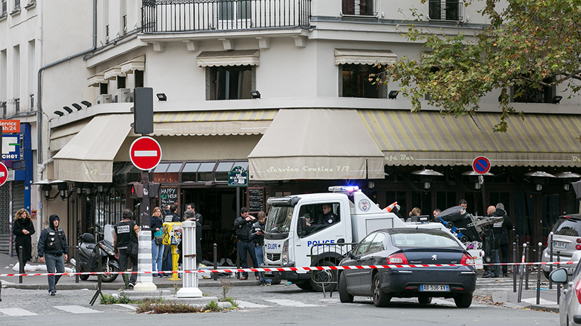 PARIS, FRANCE - NOVEMBER 14:  Police officers are seen near the 'Le Phare du Canal' restaurant  after a terrorist attack on November 14, 2015 in Paris, France. At least 120 people have been killed and over 200 injured, 80 of which seriously, following a series of terrorist attacks in the French capital  (Marc Piasecki/Getty Images)