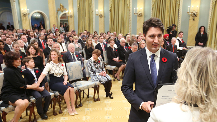 Justin Trudeau is sworn-in as Canada's 23rd prime minister during a ceremony at Rideau Hall in Ottawa November 4, 2015. (Chris Wattie/Reuters)