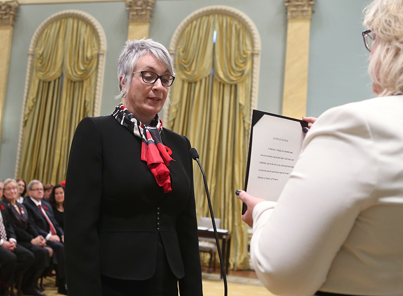 Canada's new Status of Women Minister Patricia Hajdu is sworn-in during a ceremony at Rideau Hall in Ottawa November 4, 2015. Chris Wattie/Reuters