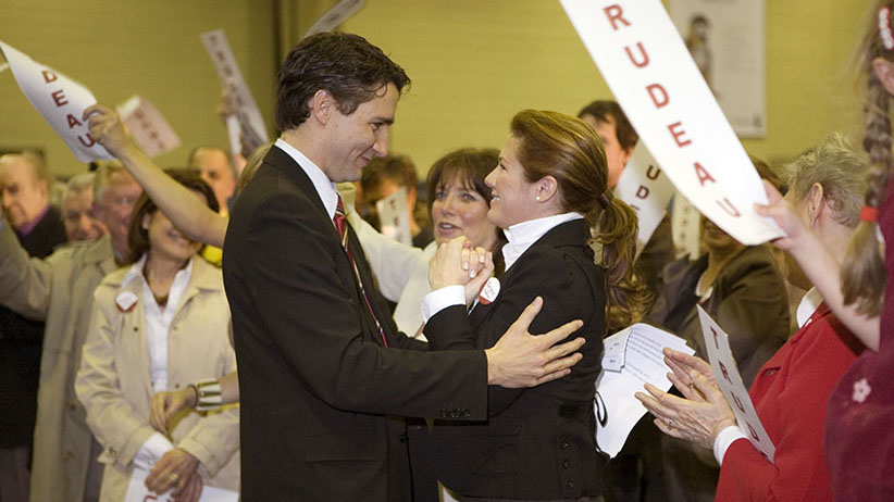 Justin Trudeau and wife at his Liberal nomination meeting in Montreal. April 2007